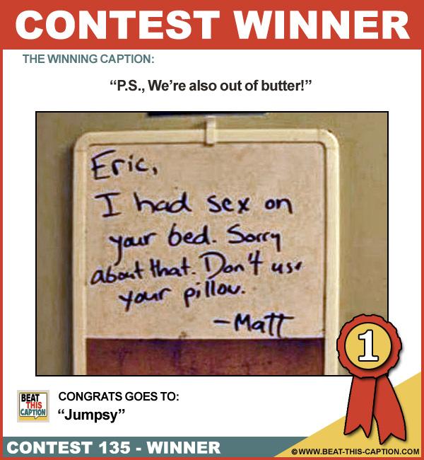 Beat This Caption Contest 135 Winner